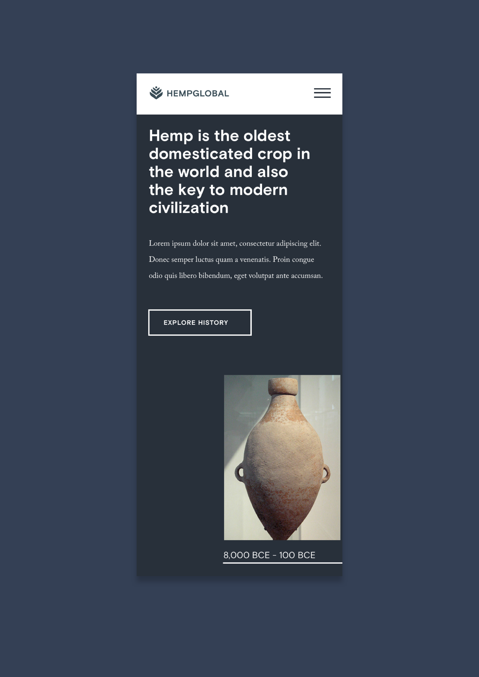 Hemp is the oldest domesticated crop in the world and also the key to modern civilization. Mobile HGI comp of history page;