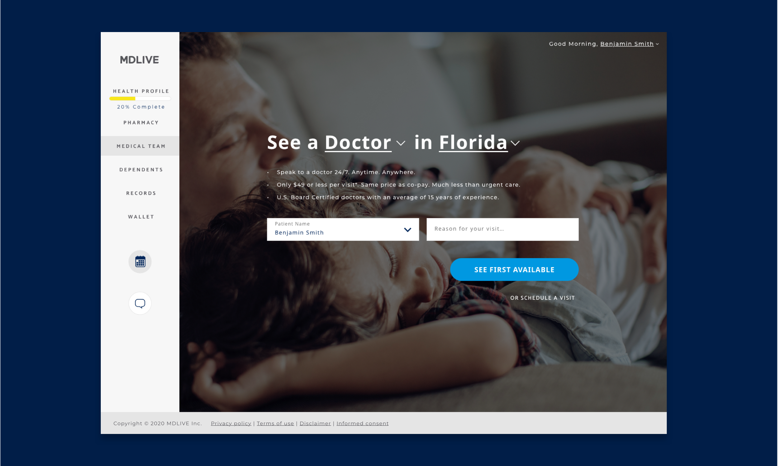 Homepage screenshot of MDLIVE Telehealth portal. Screen has left rail navigation and dropdowns that allow users to select which type of medical help they need, and where.