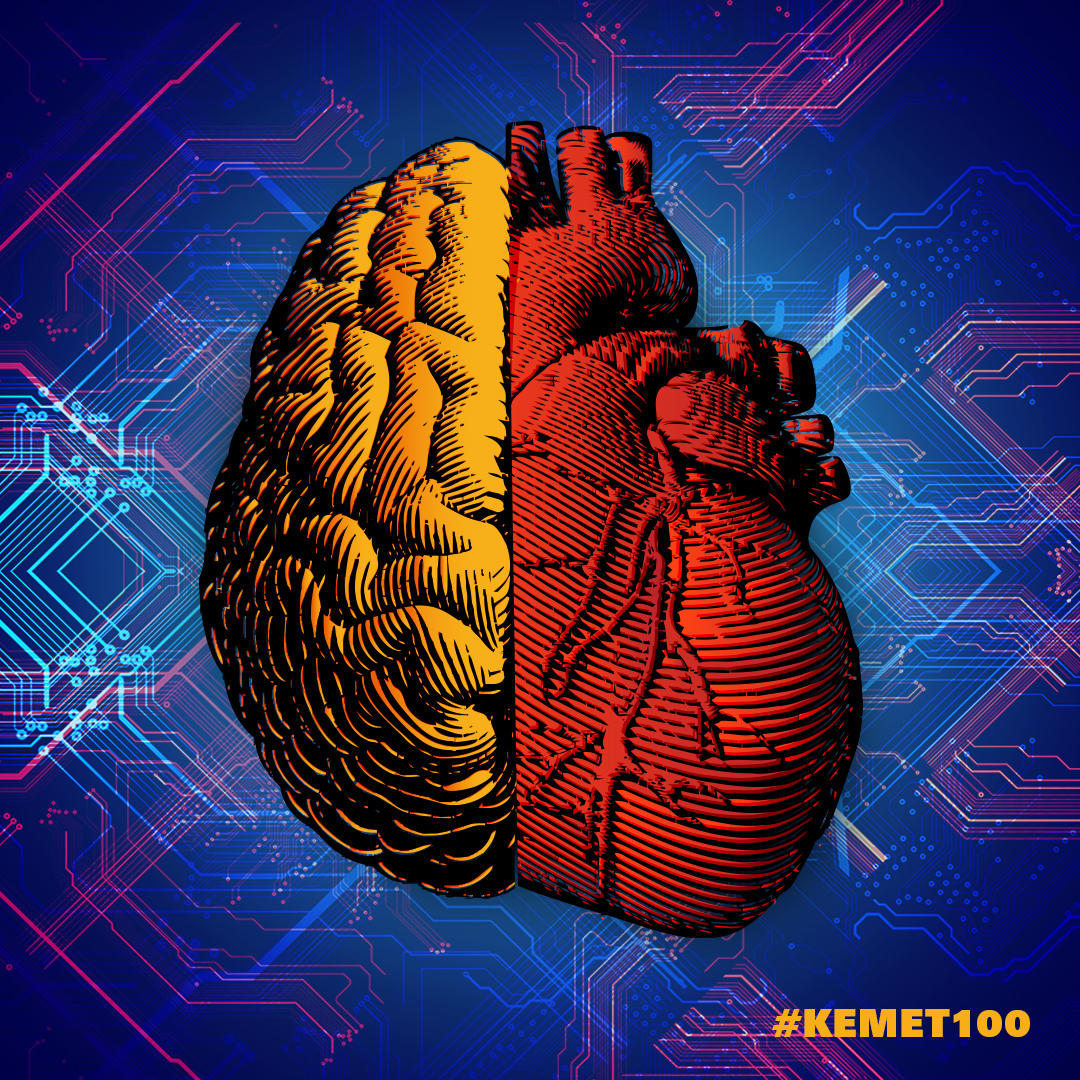 Illustration of a 1/2 brain and 1/2 heart with the #KEMET100 hastag for social media.