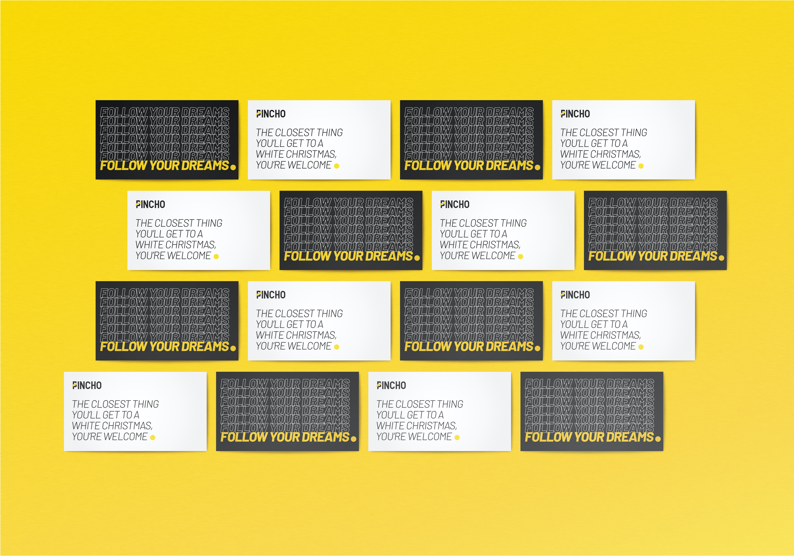 Business cards repeating on yellow background