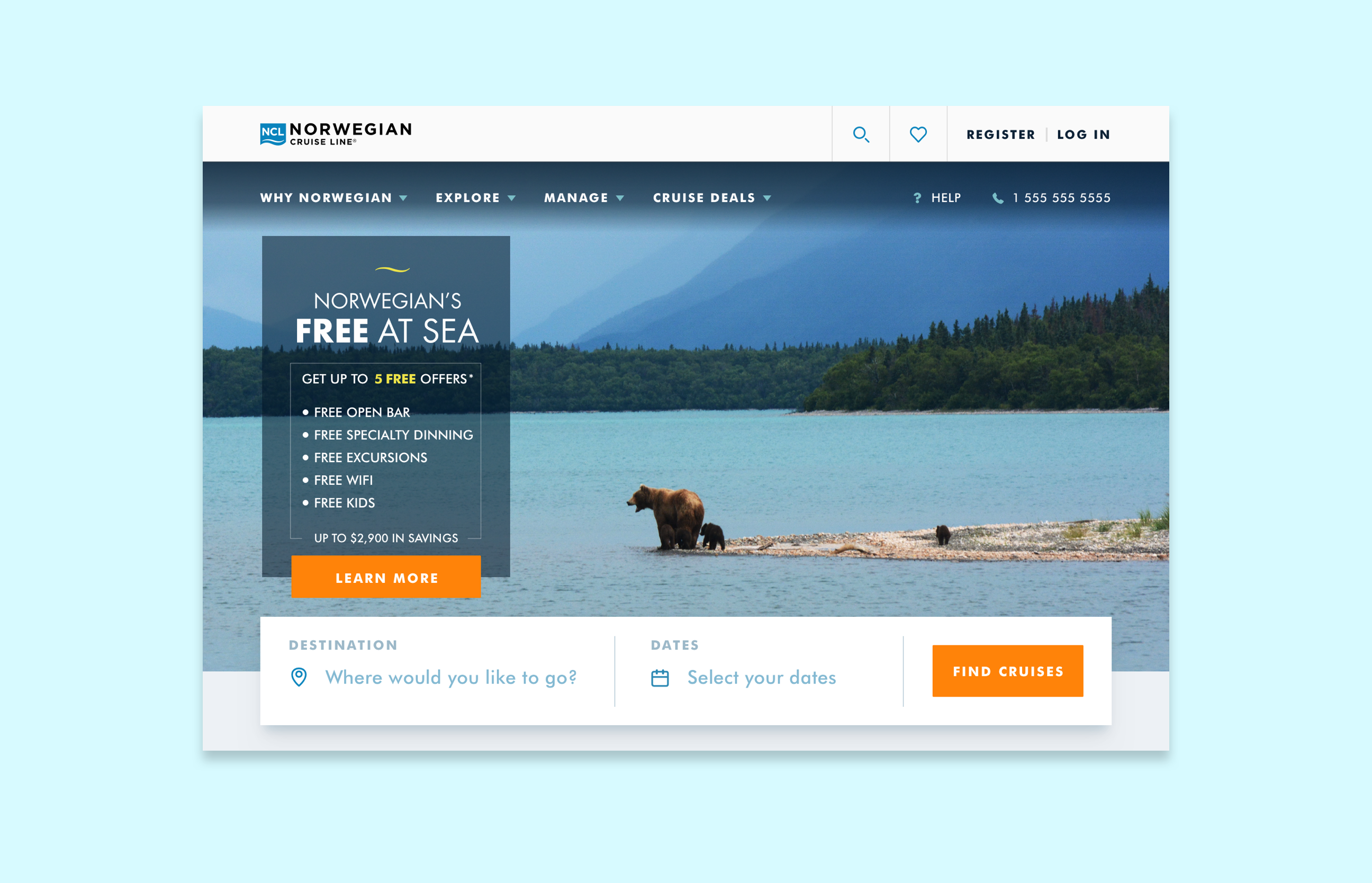NCL.com homepage comp showing promotion and a large hero image with bear walking towards water in Alaska.