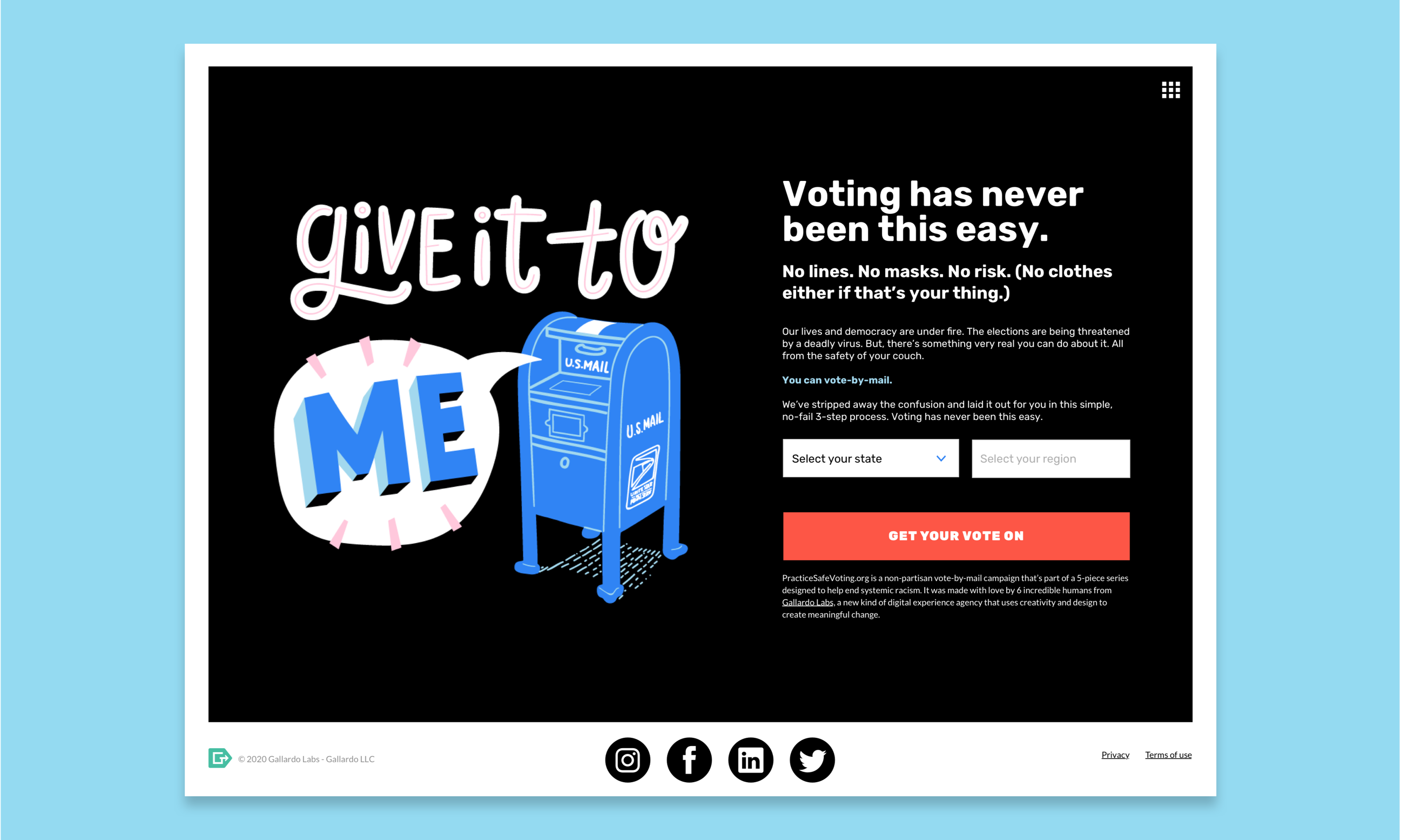"""Homepage screen for practicesafevoting.org. A mailbox illustration is shown with the words, """"give it to me"""" coming out. Voting has never been this easy."""