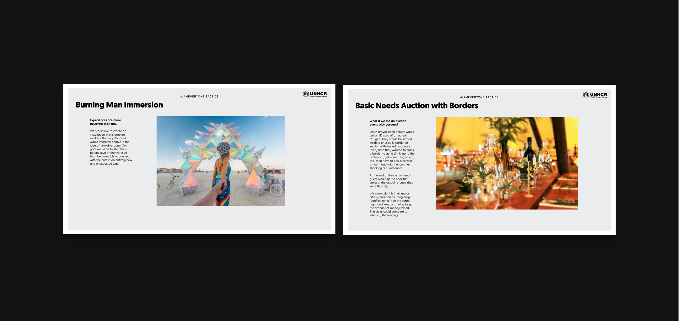 two slides from the concept pitch explaining a burning man installation idea and a basic needs a