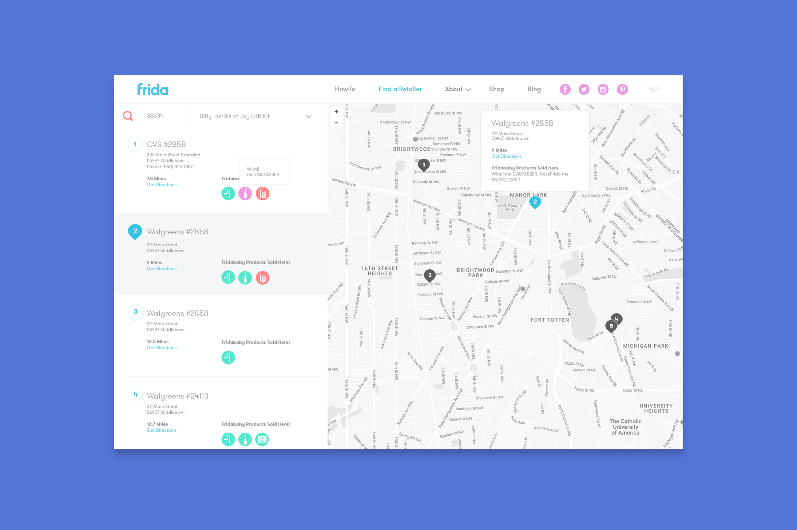 Map functionality to show where users can find Frida products