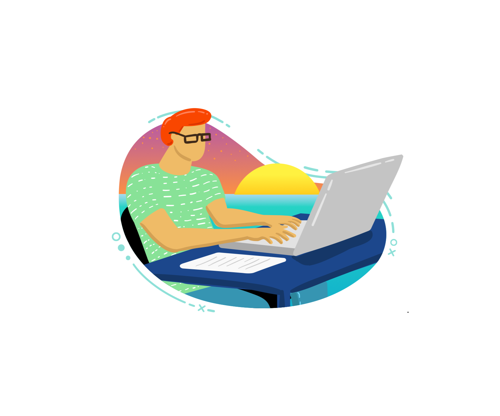 Illustration of IT working at the computer on his own island.