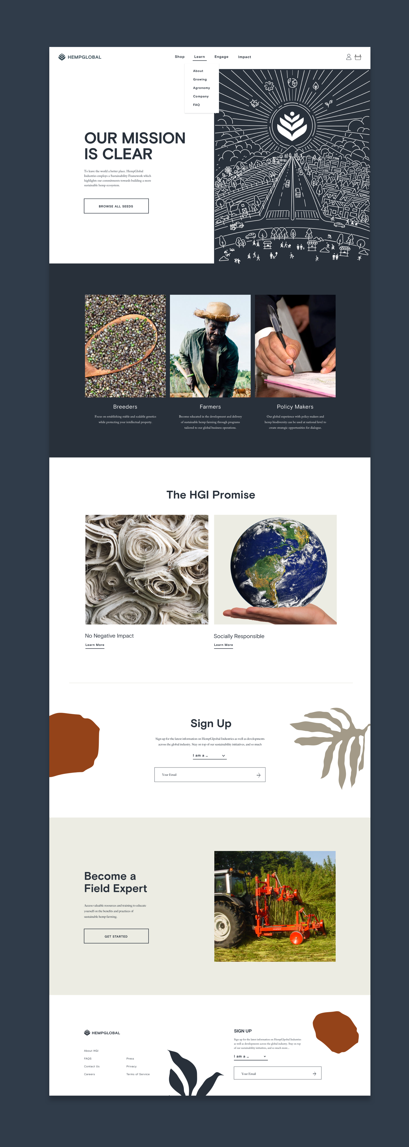 Our mission is clear. Comp of the HGI homepage showing illustration at top and sections for breeders, farmers, and policy makers.