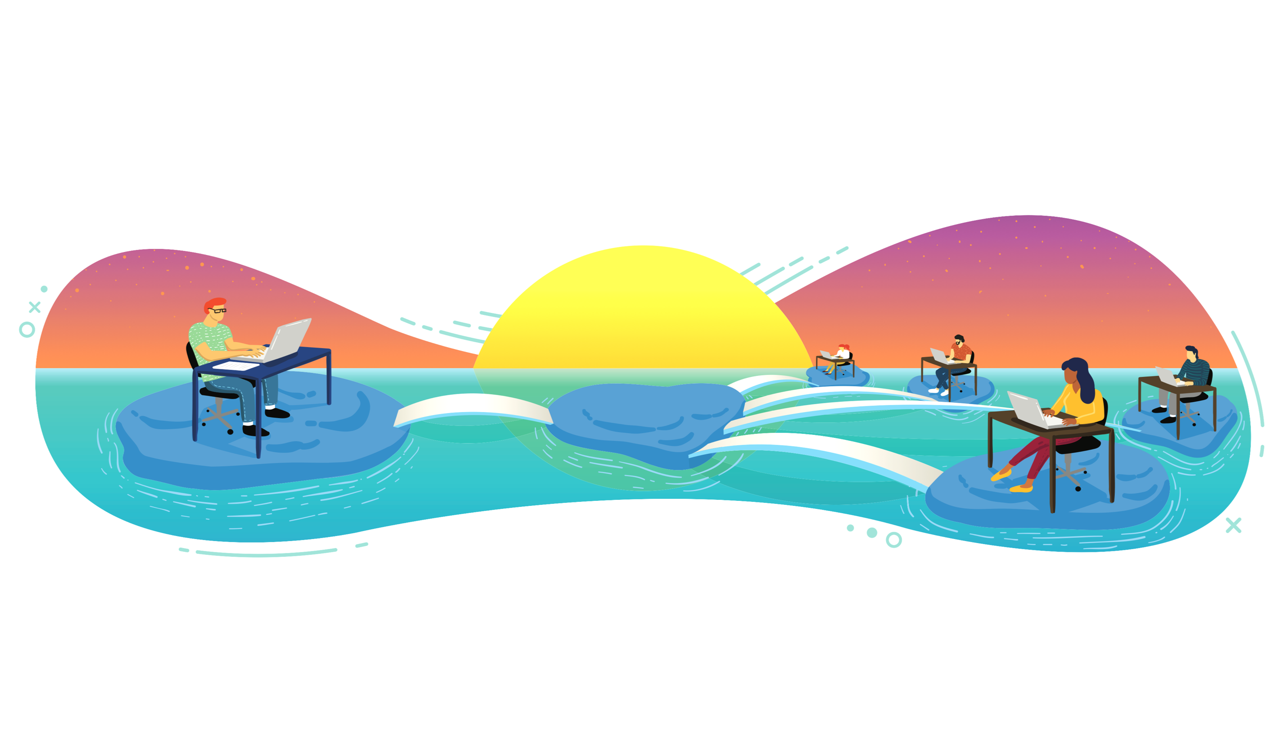 Illustration of IT and employees working happily on connected islands in the ocean, with the sun setting behind.