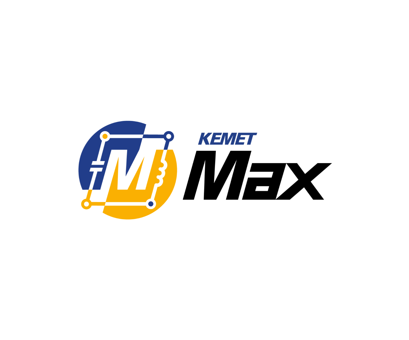 The logo is blue and yellow following brand colors. Max is bold and black in a futuristic font.