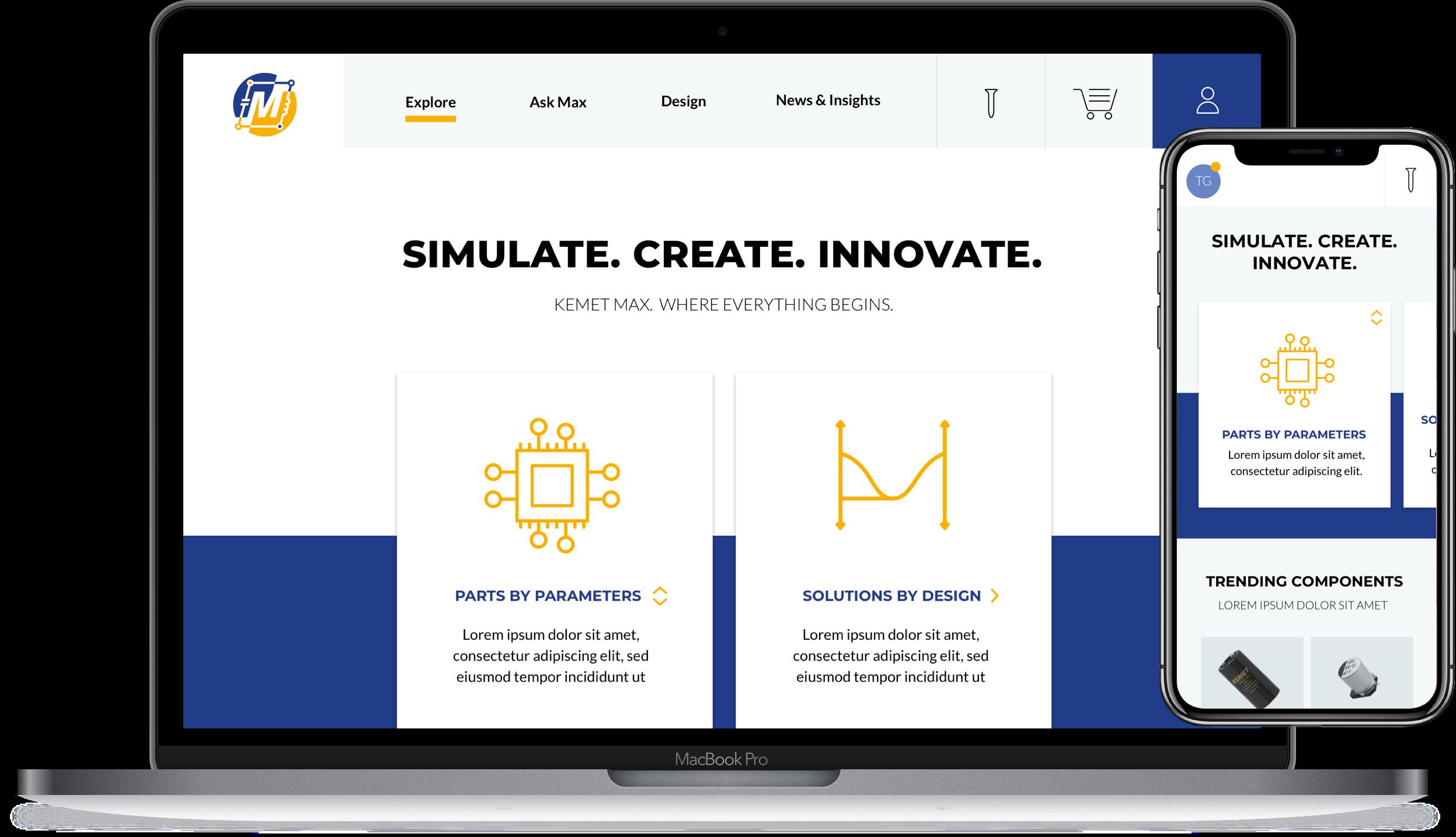 The KEMET Max website design shown inside a desktop screen and mobile. Tagline reads Simulate. Create. Innovate.