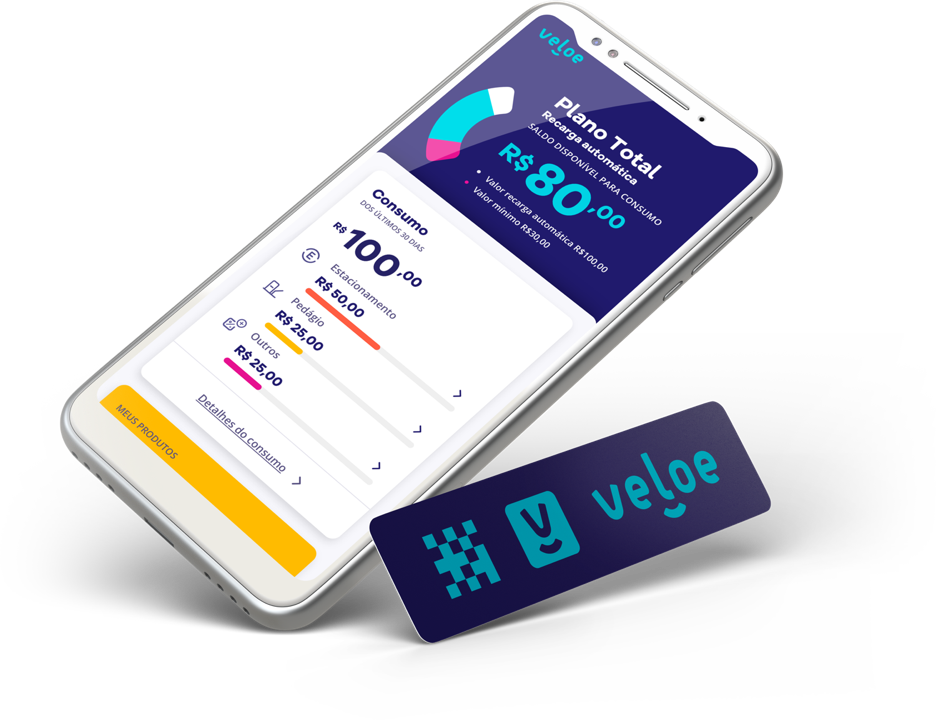 Um celular com um adesivo, produto fornecido pela veloe, no celular está a tela do status de consumo do plano de um usuário