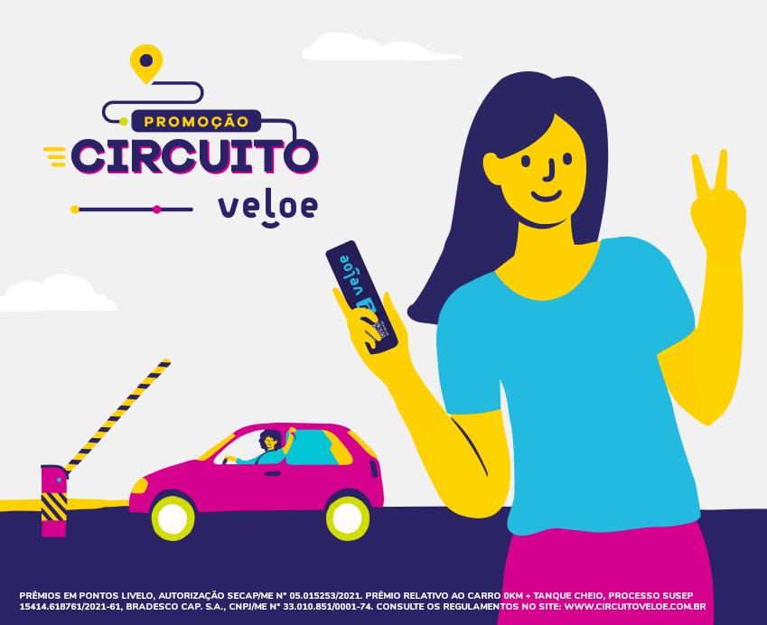 Ilustração da promoção Circuito Veloe.