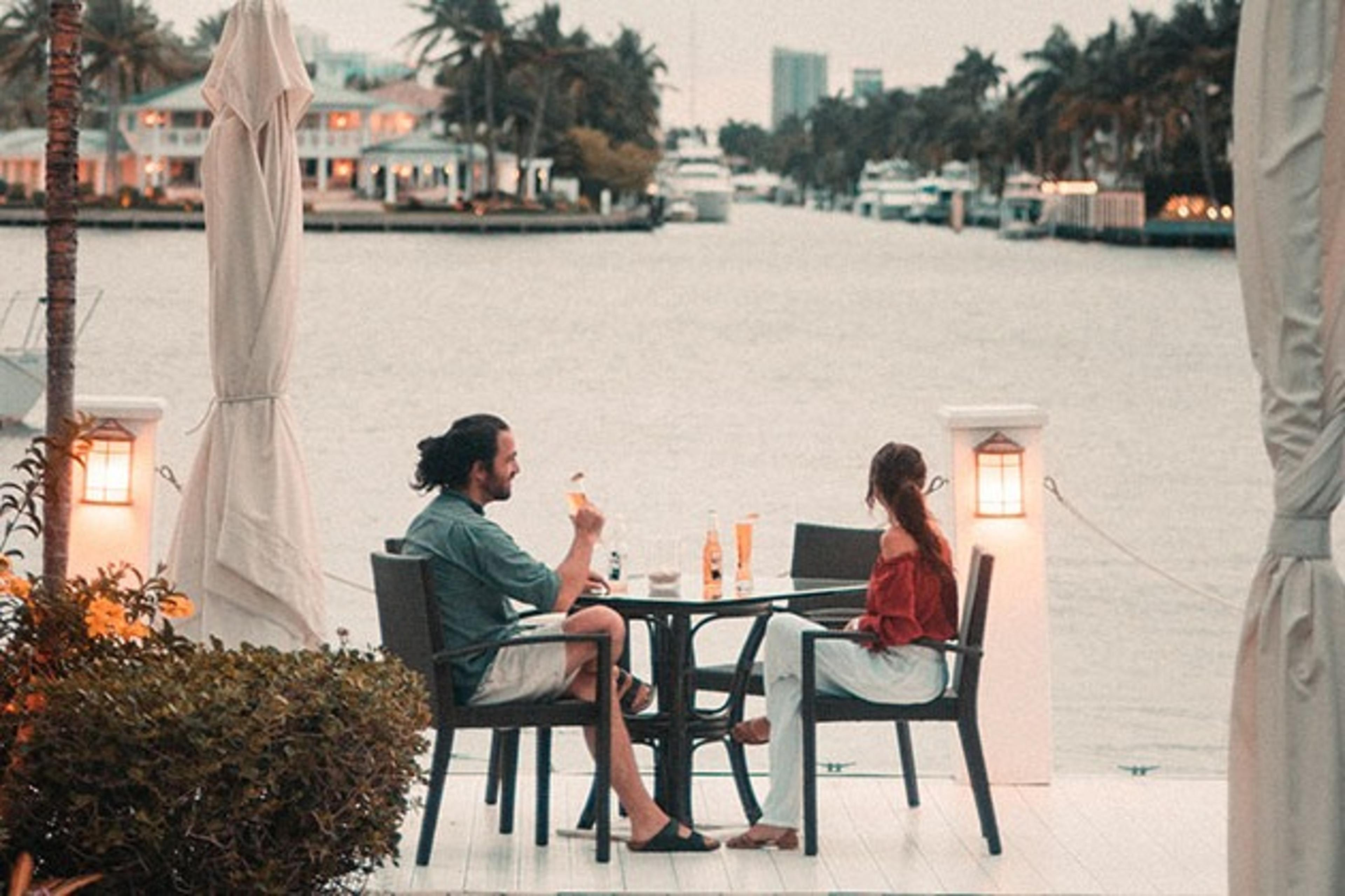couple on a date on a dock