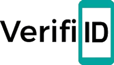 "VerifiID logo - black verifiid and ""ID"" visually frame as it is inside a mobile phone."