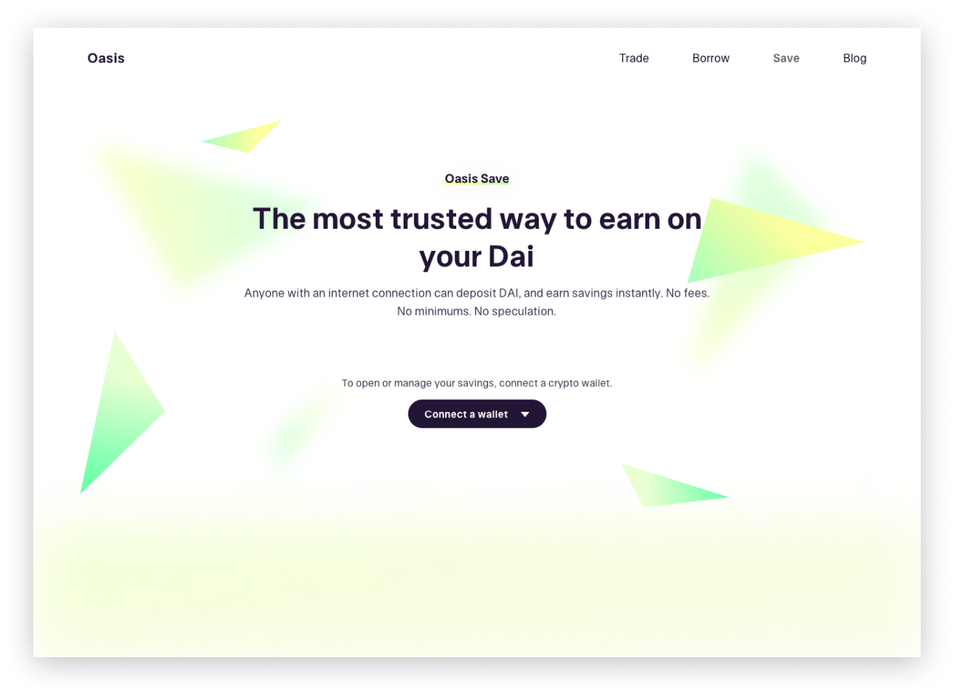 "Maker webpage ""the most trusted way to earn on your DAI""."