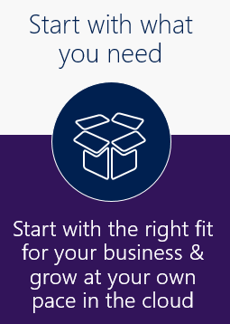 Start with what you need: start with the right fit for your business and grow at your own pace in the cloud.