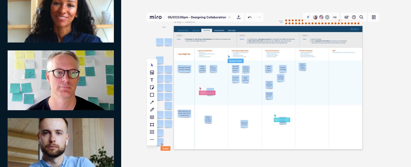 Screenshot of the virtual group using Creative Matrix for brainstorming.