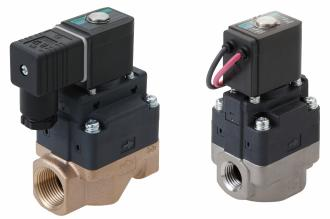 Compact pilot operated solenoid valve for water