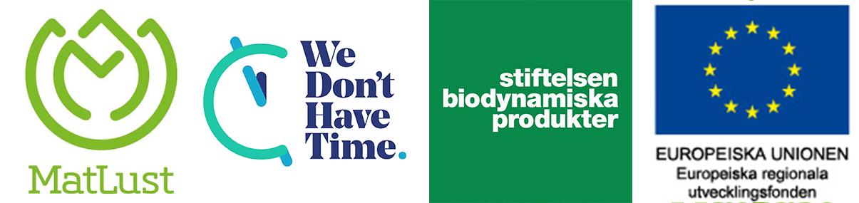 Logotyper från MatLust, We Don't Have Time, Stiftelsen Biodynamiska Produkter, Europeiska regionala utvecklingsfonden