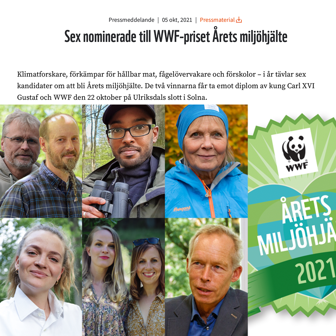 Olga nominerad till WWF-priset Årets miljöhjälte