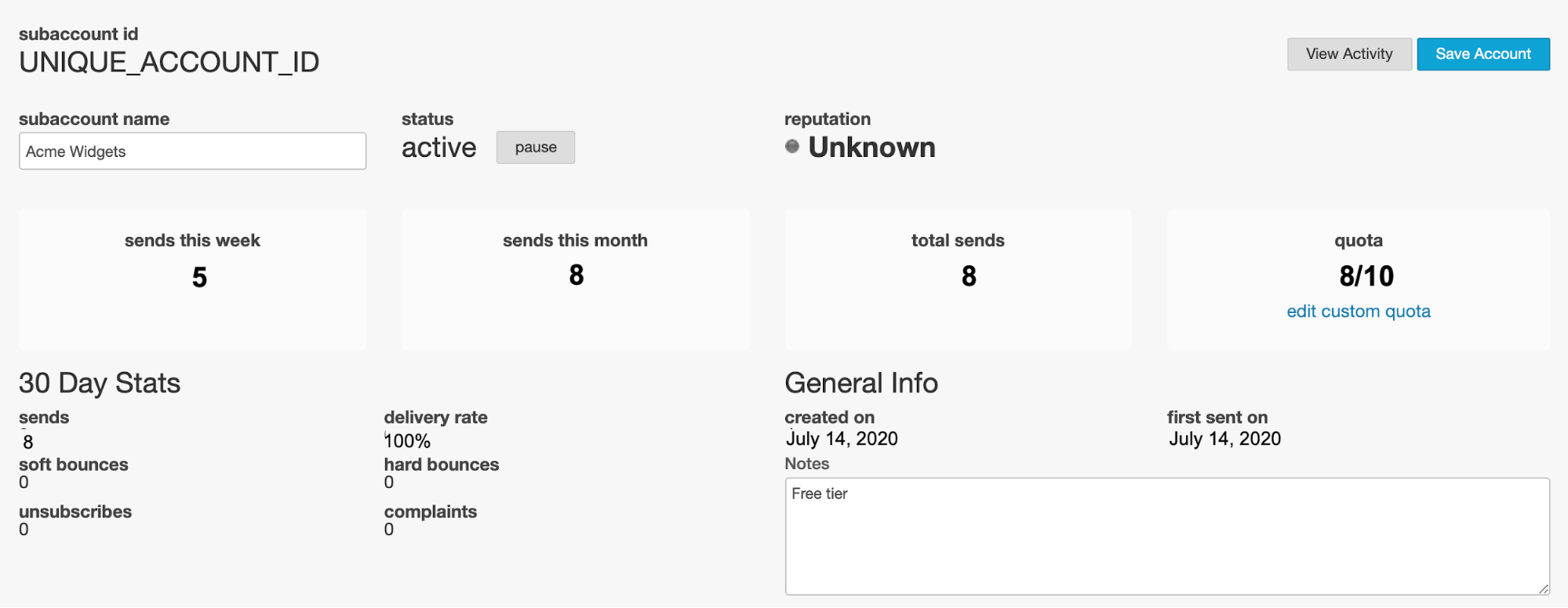 An image of the subaccounts dashboard