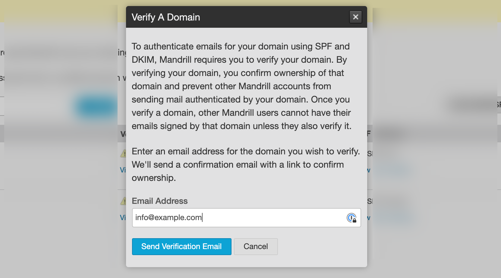 Screenshot of verifying a domain in Mailchimp Transactional