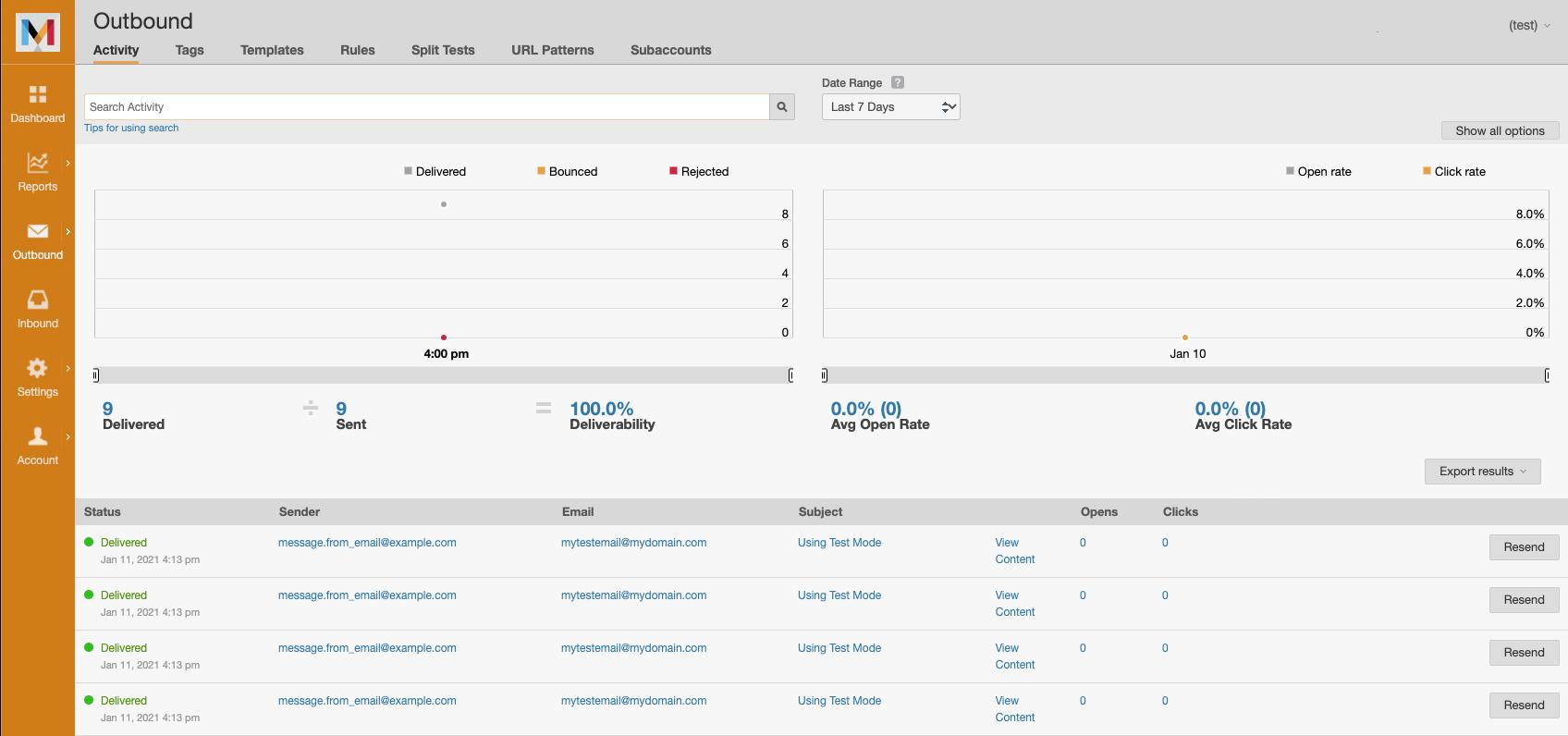 A screenshot of Mailchimp Transactional's test mode