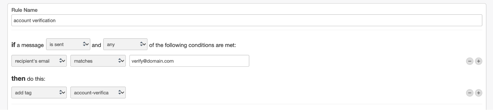 Screenshot of adding an account verification via Transactional Email