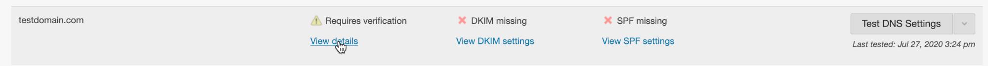 Screenshot of testing domain settings in Mailchimp Transactional