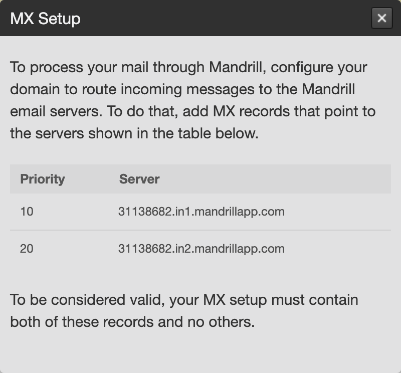 Screenshot of setting up MX records in Transactional Email
