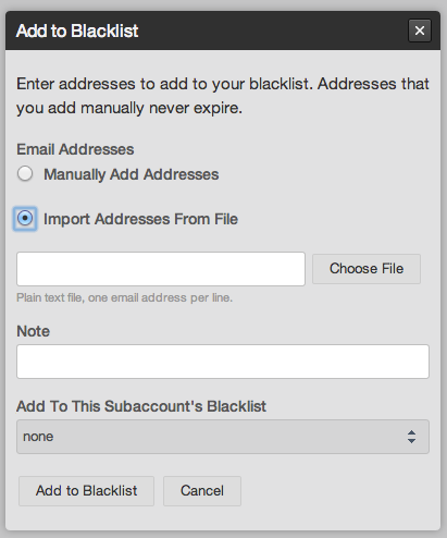 Screenshot of adding an address to the Rejection Blacklist