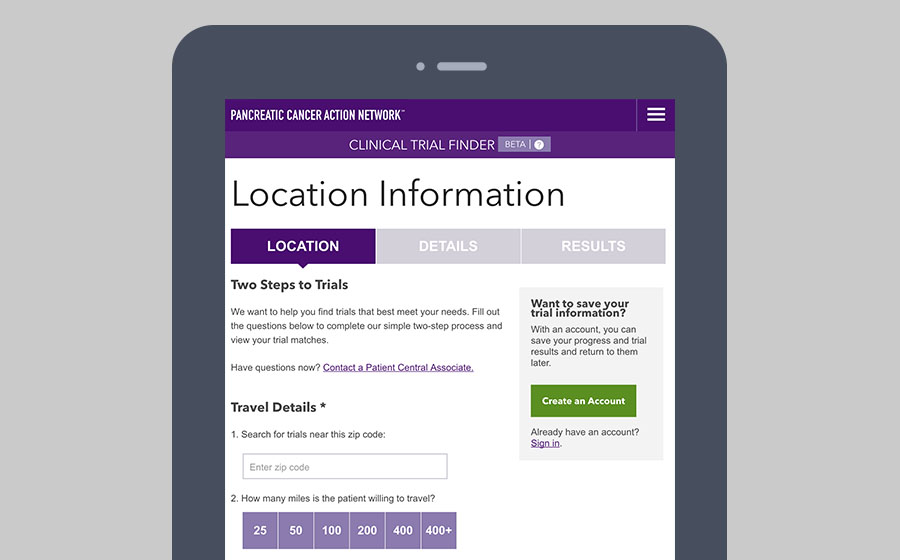 Springbox Pancreatic Action Network Clinical Trial Finder Location Information
