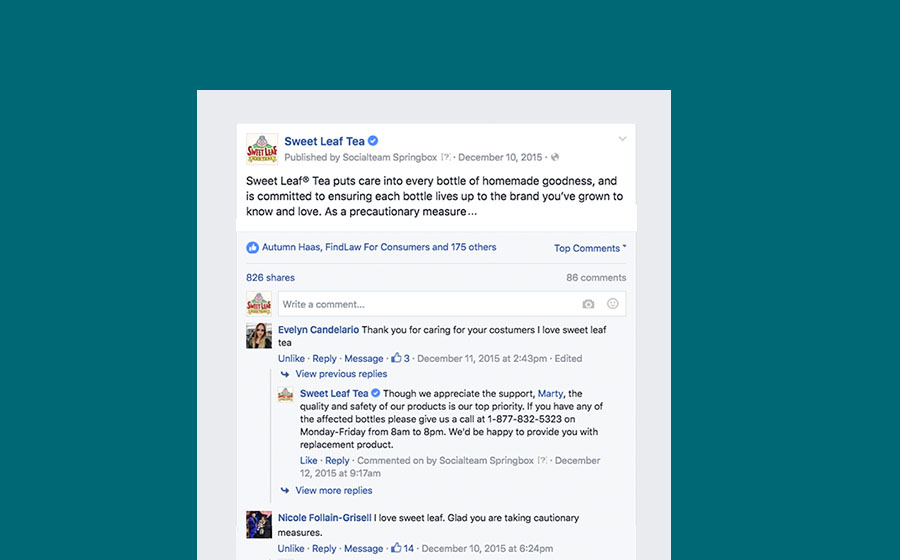 Springbox Community Management Sweet Leaf Tea Facebook Post