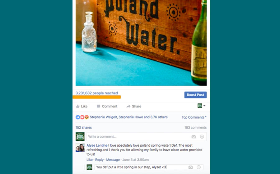 Springbox Community Management Poland Spring Facebook Post Boost