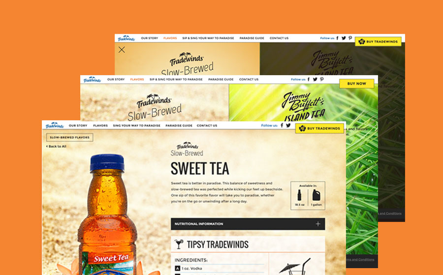 Springbox CPG Websites Tradewinds Tea Web Pages