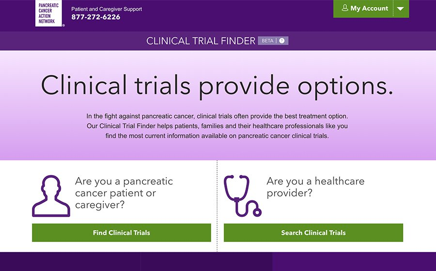 Springbox Pancreatic Action Network Clinical Trial Finder Search