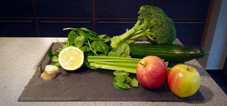 Ingredienser til groen juice