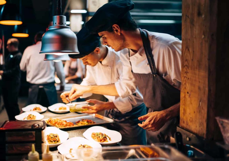 Chefs working in an high-end restaurant