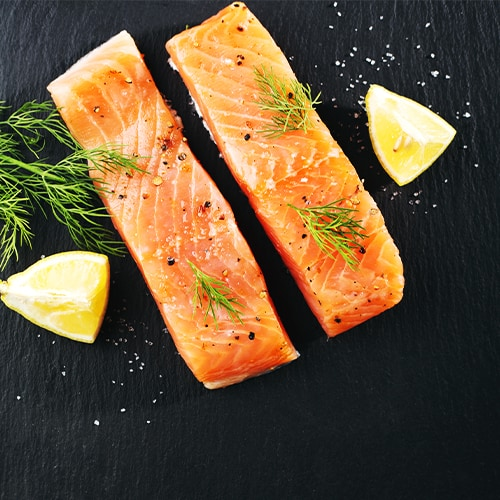Fillets of salmon with lemon and dill