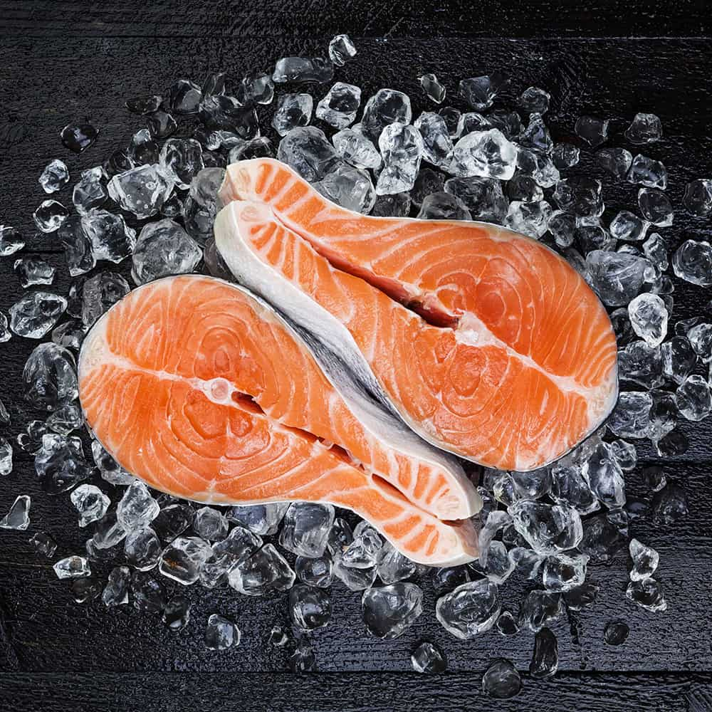 Chilled salmon fillets