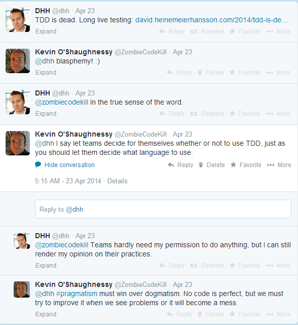 Tweets from DHH about test driven development