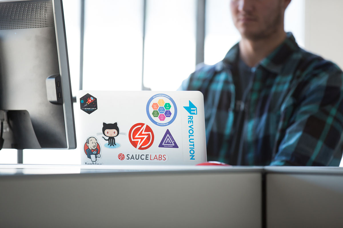 Sauce labs laptop with stickers