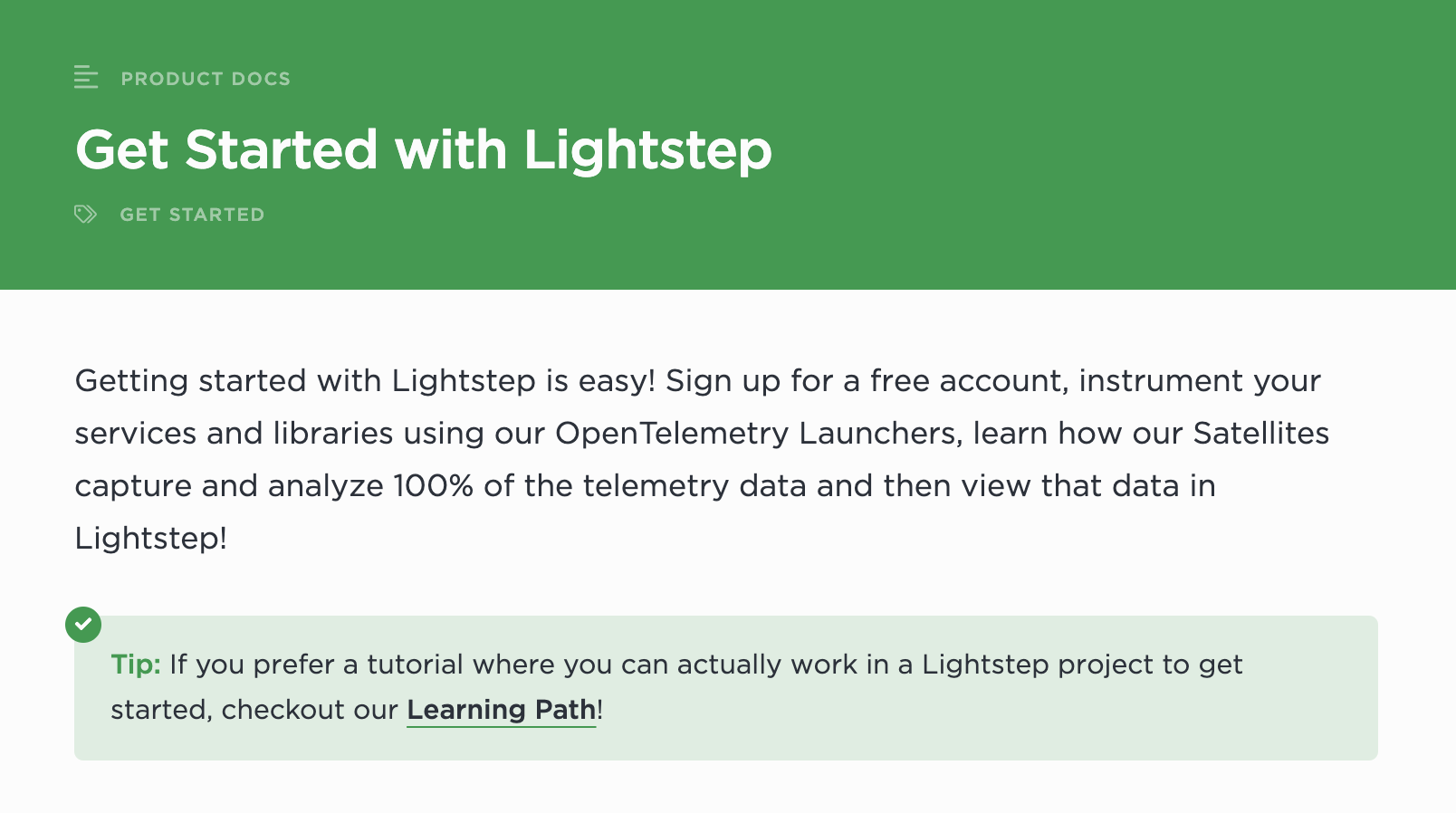 Get Started with Lightstep Docs