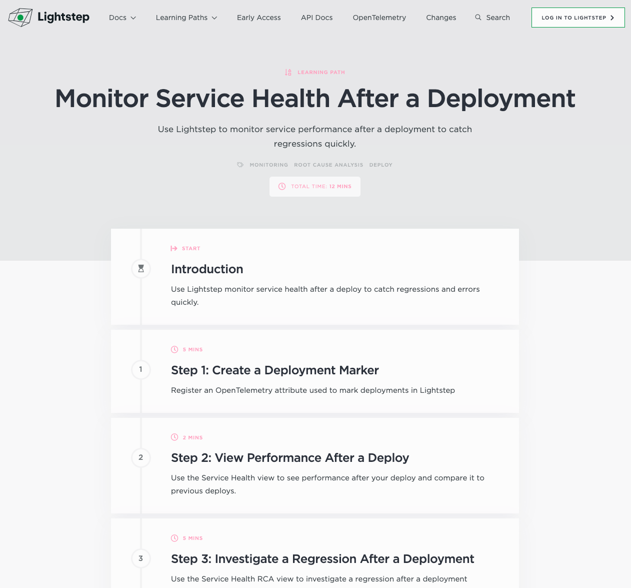 LIghtstep Learning Path for Monitoring Deployments