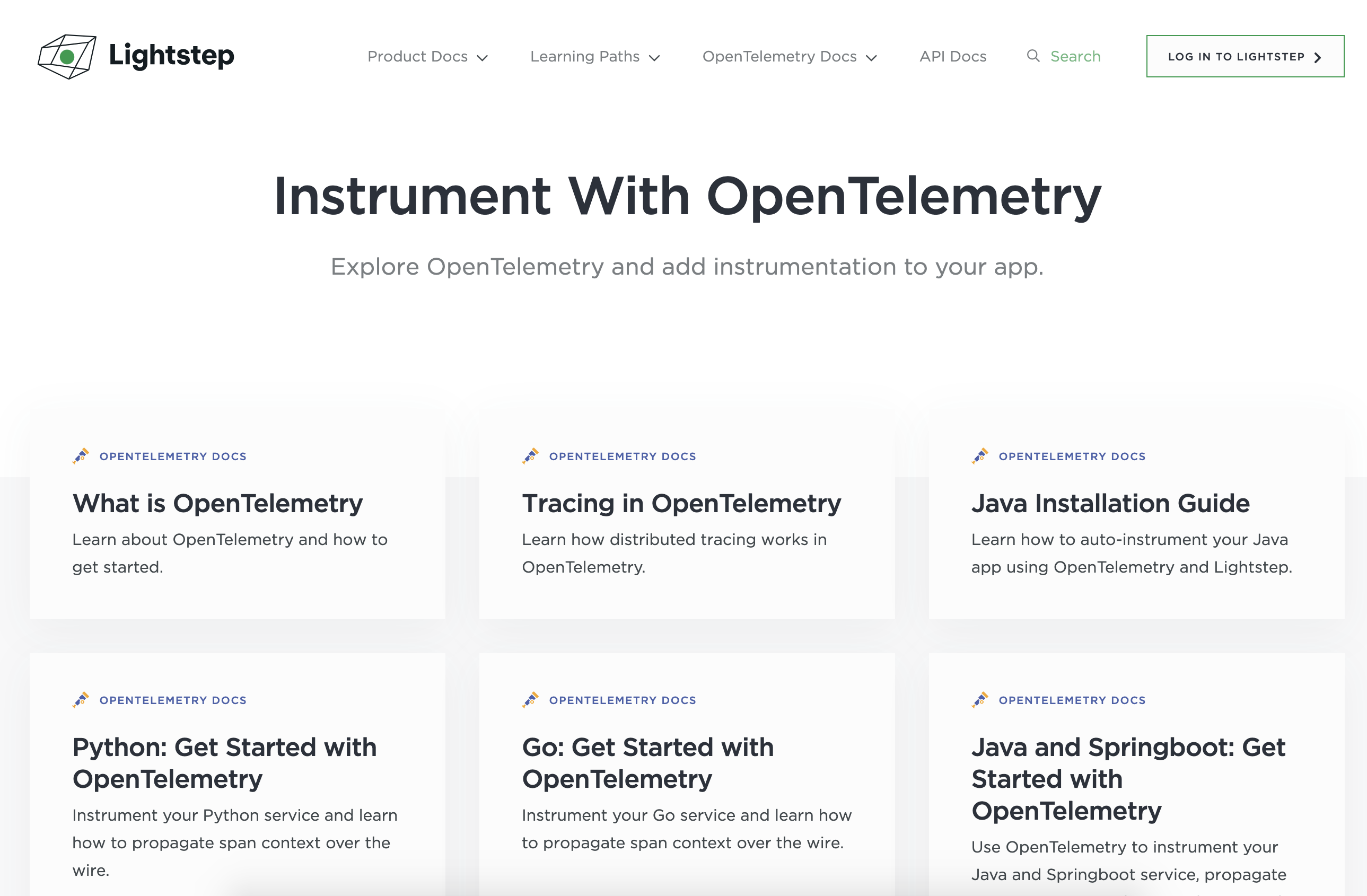 Lightstep Learning Portal - OpenTelemetry Content