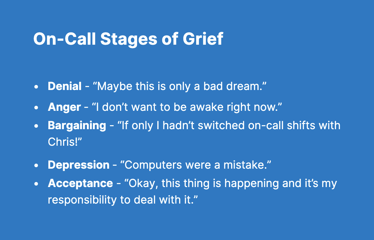 On-Call Stages of Grief Blog