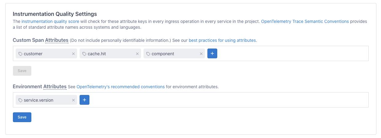 Instrumentation Quality Score - settings