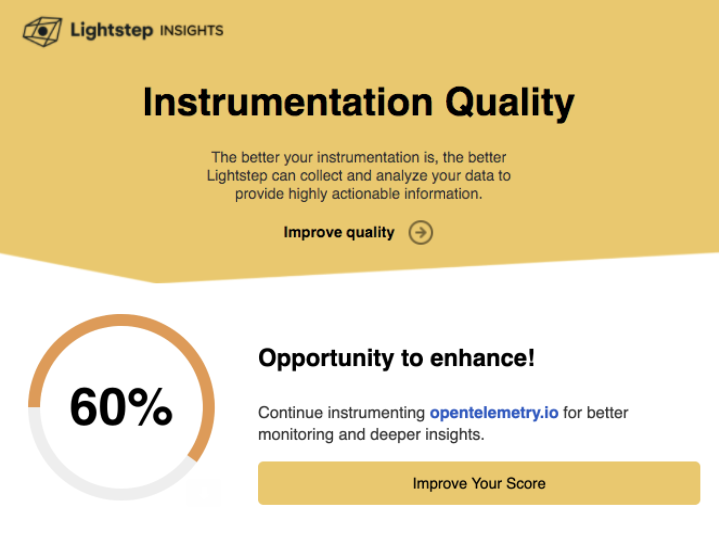 Instrumentation Quality Score - report