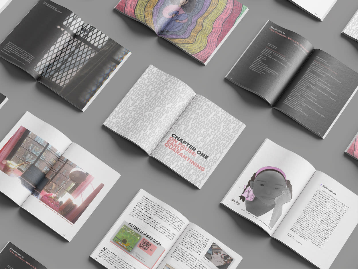 Magazine spreads mock up of COVID 19 Journal
