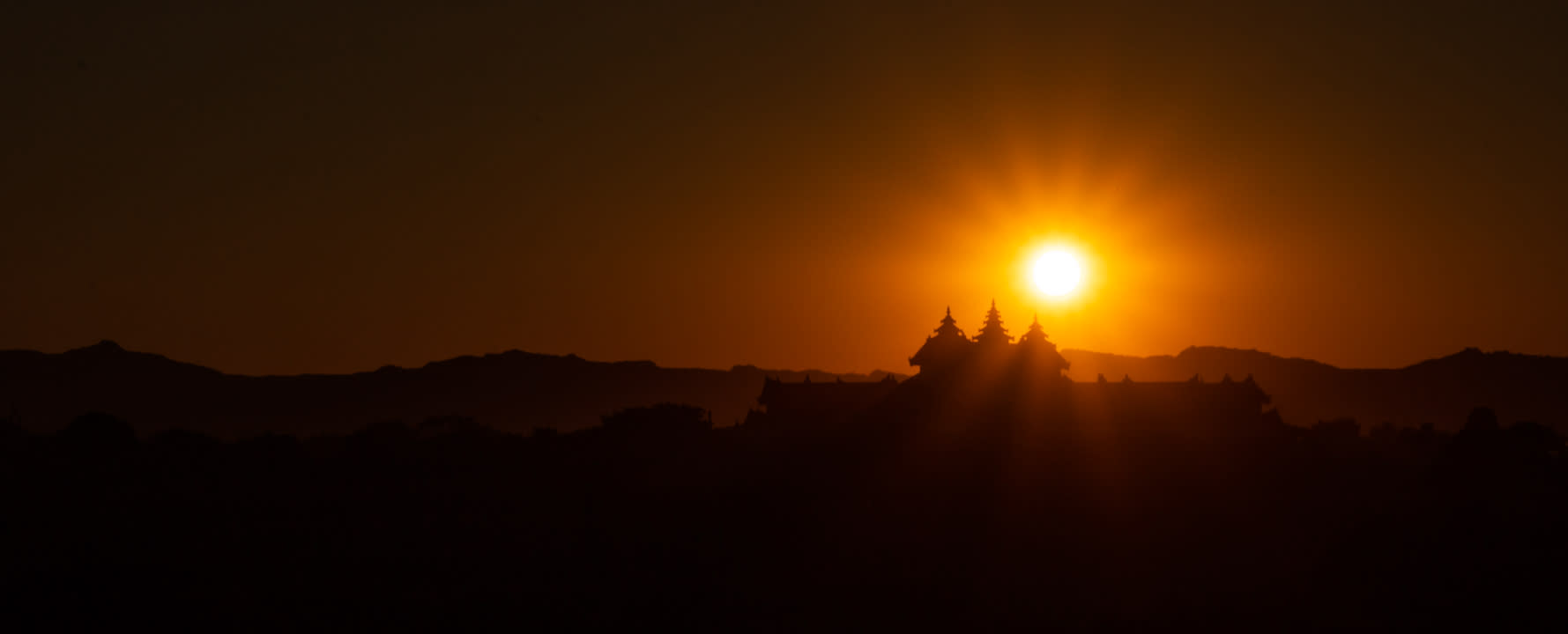 Silhouette of a palace in Bagan during sunset