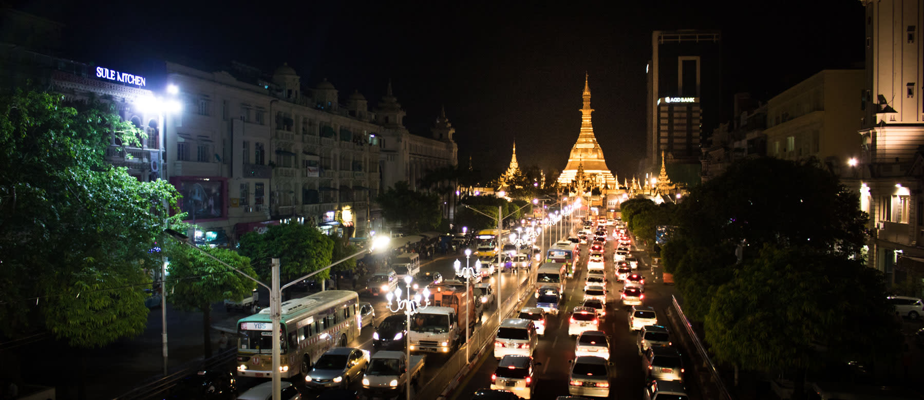 Panoramic image of Sule Pagoda